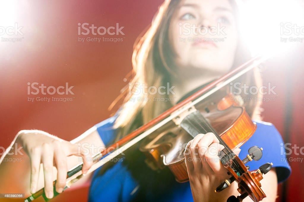 Bright Violin Music stock photo