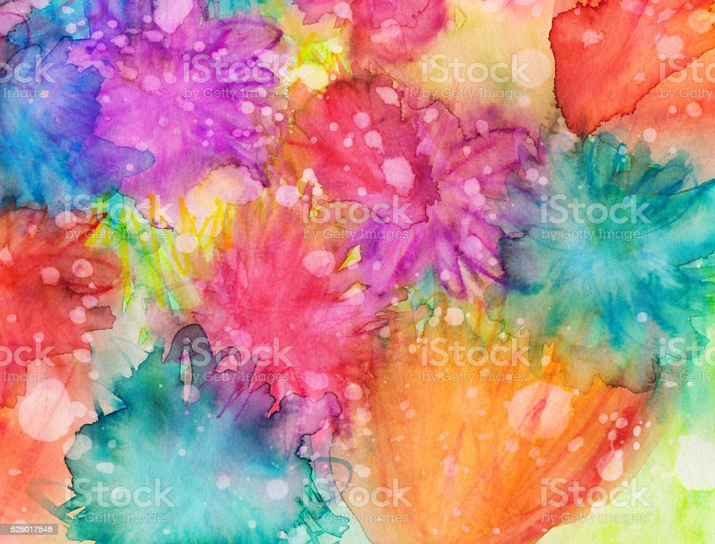 Bright vivid colors hand painted with texture on paper stock photo