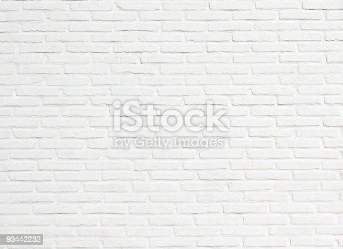 istock Bright White Brick Wall Texture Background Pattern 93442232