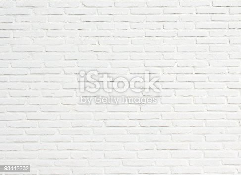 istock Bright White Brick Wall Texture Background Pattern 93442232