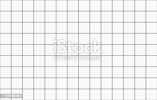 Bright white square mosaic tiles texture background. Long wide horizontal picture.
