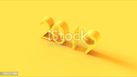 istock Bright Yellow 3d 2019 Sign 1064027866