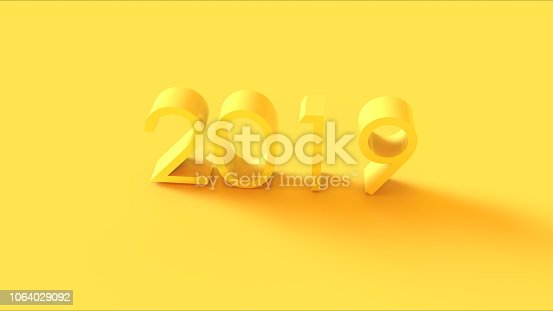 istock Bright Yellow 3d 2019 Sign 1064029092