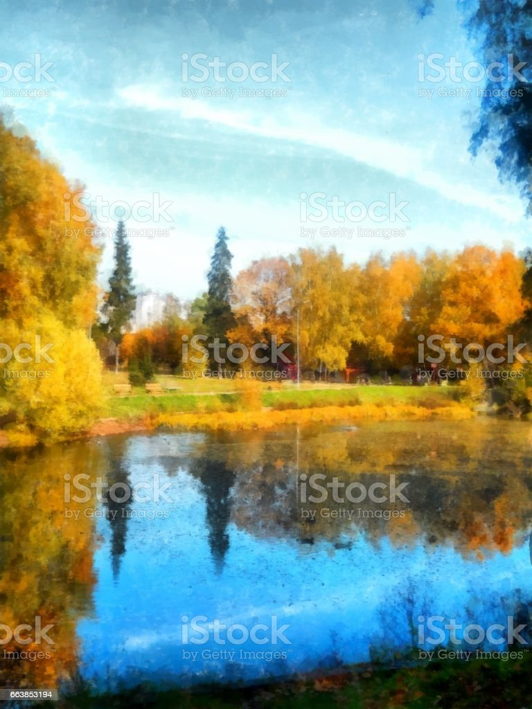 Bright yellow autumn park reflected trees in pond. Watercolor vector art illustration