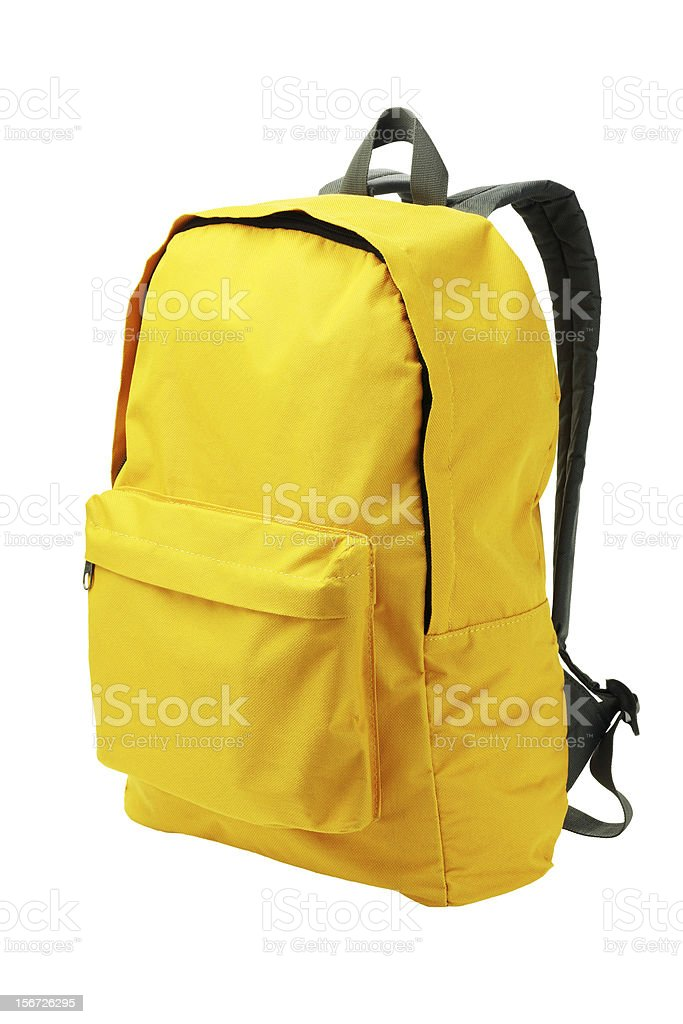 A bright yellow backpack with white backpack  stock photo
