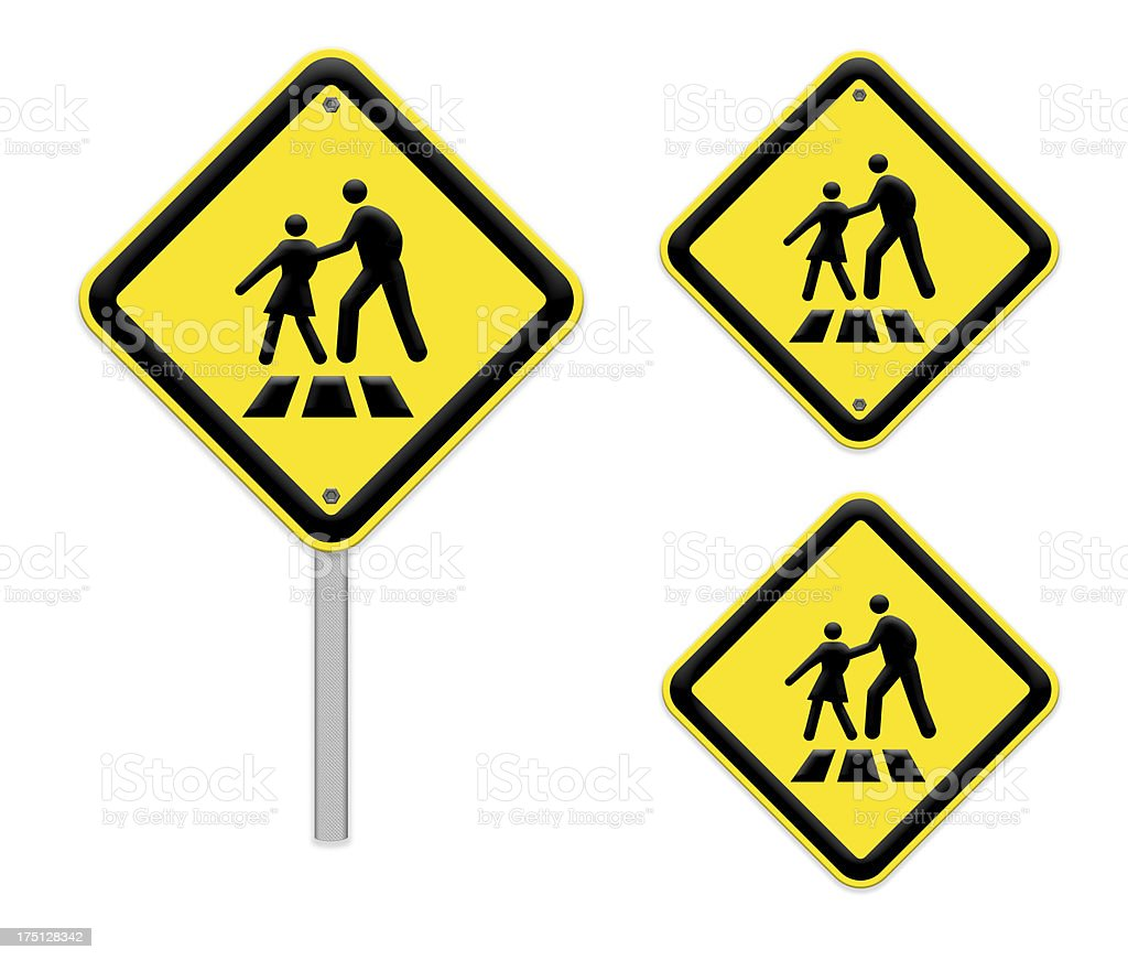 Bright yellow crosswalk sign ,part of a series. stock photo