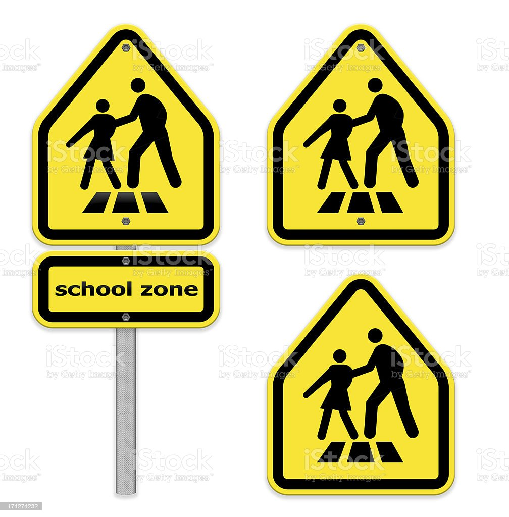 Bright yellow crosswalk sign ,school zone,part of a series. royalty-free stock photo