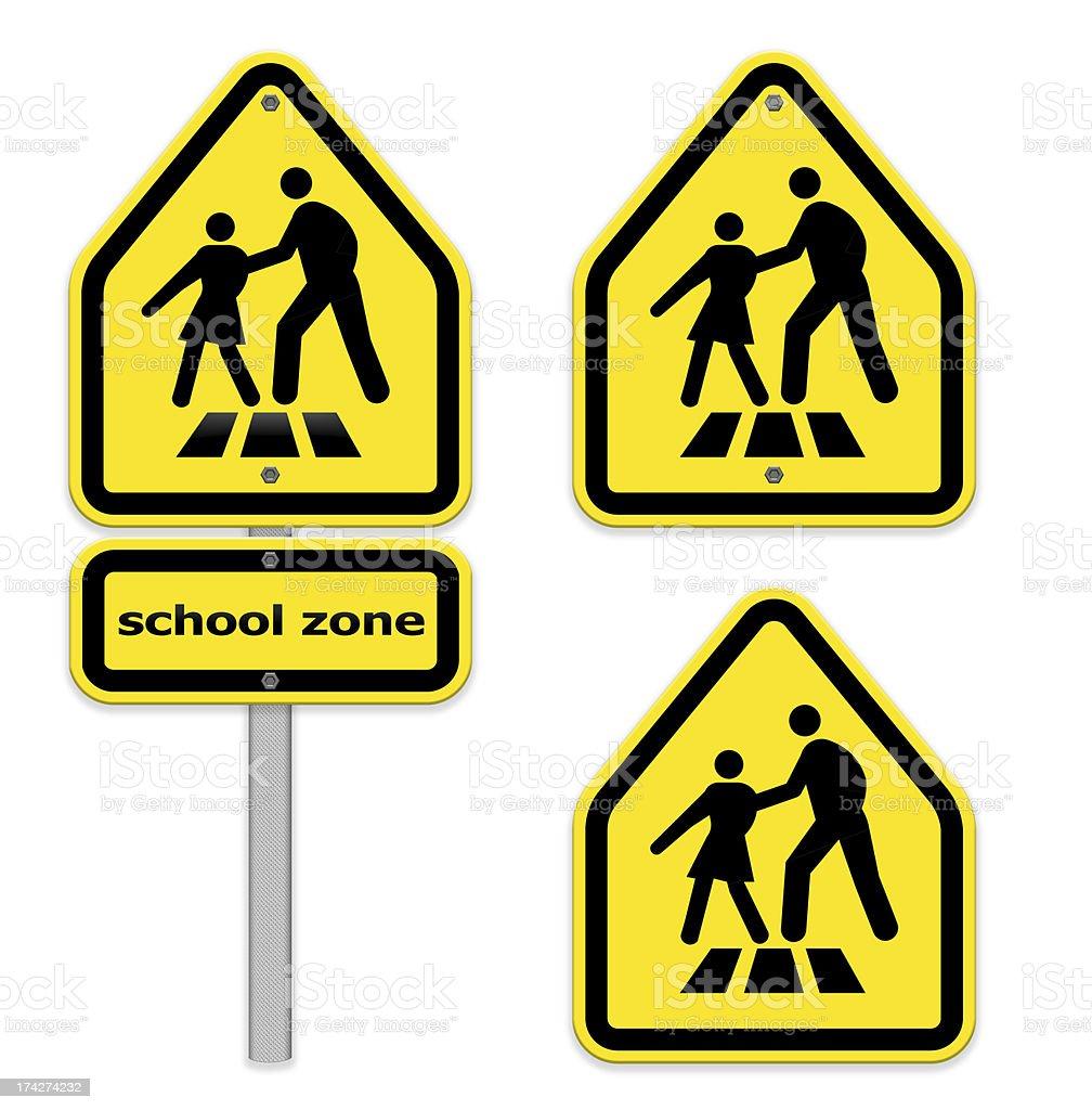 Bright yellow crosswalk sign ,school zone,part of a series. stock photo