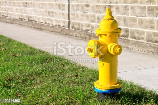 A vivid yellow newly painted fire hydrant with plenty of negative space on the left of the hydrant.