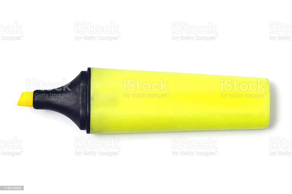 Bright yellow fluorescent highlighter pen with no top stock photo
