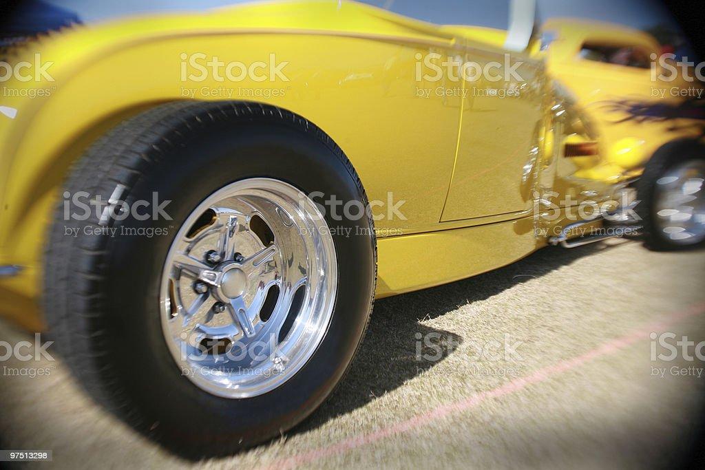 Bright yellow hot rod royalty-free stock photo