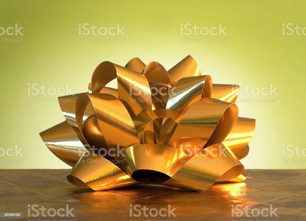 Bright Yellow Ribbon Bow royalty-free stock photo