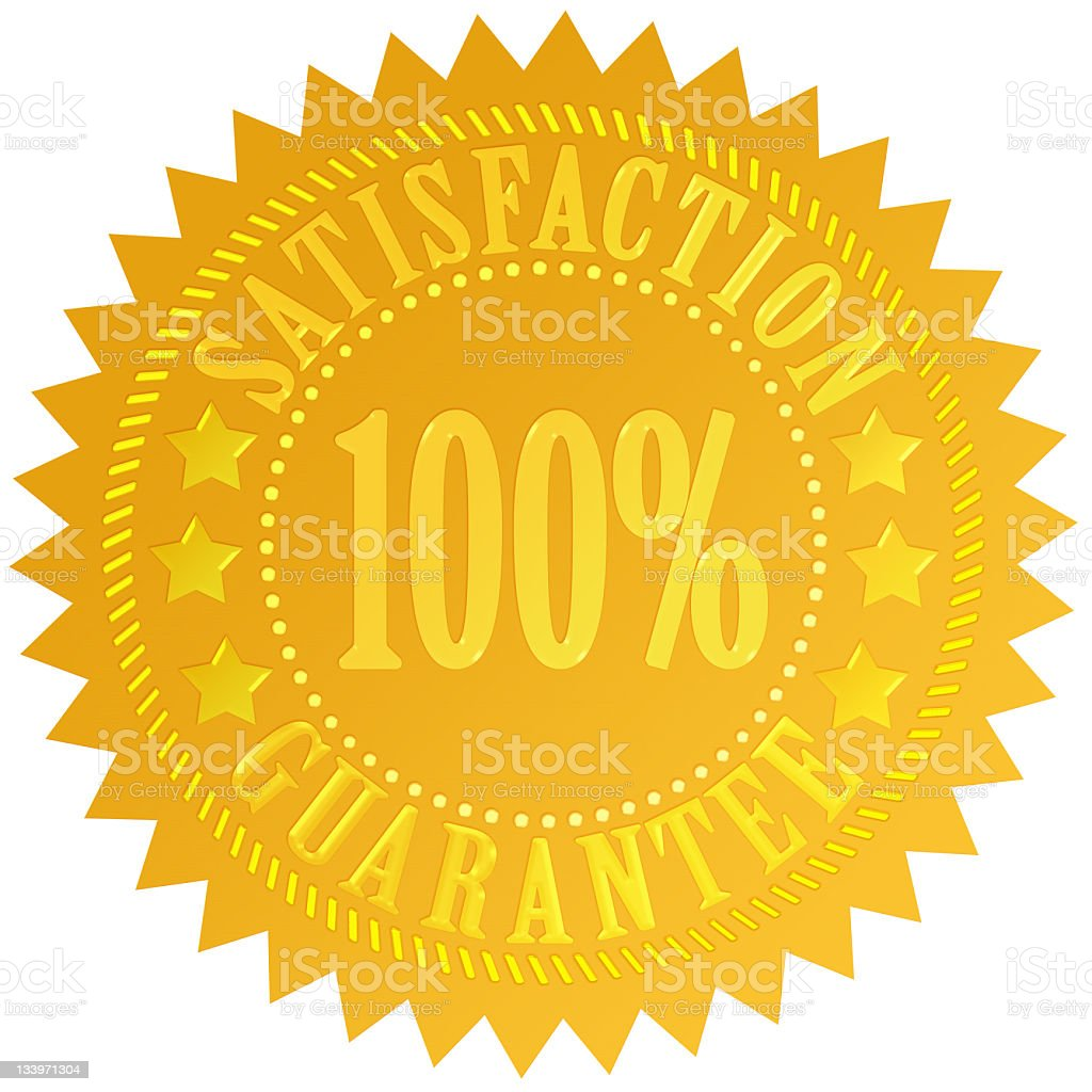 Bright yellow sign showing 100% satisfaction guarantee stock photo