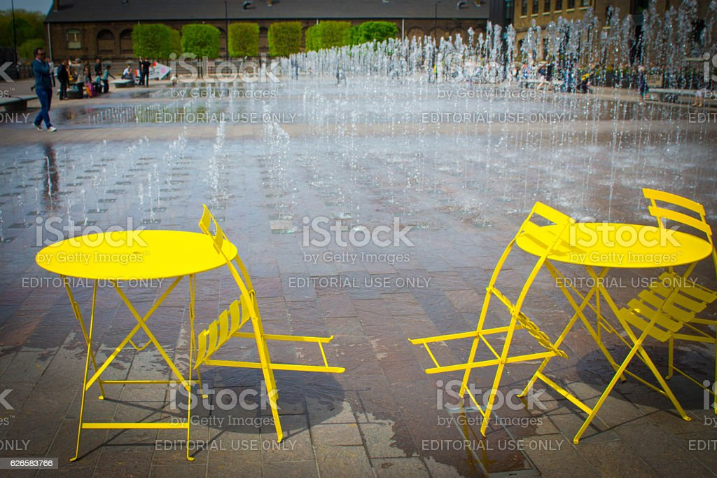 Super Bright Yellow Table And Chairs Stock Photo Download Image Machost Co Dining Chair Design Ideas Machostcouk