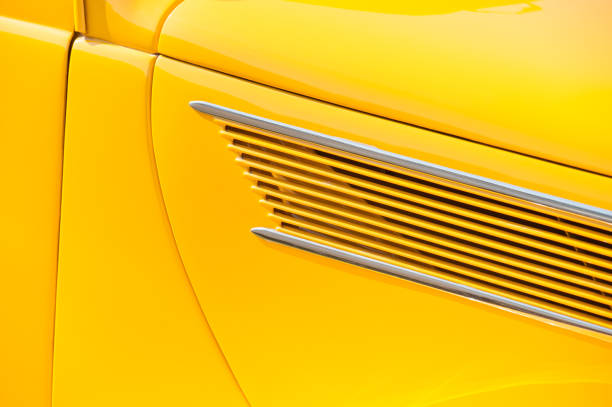 bright yellow vehicle door panel stock photo