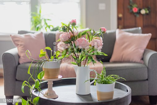 Spring home decor for the living room in pink and gray