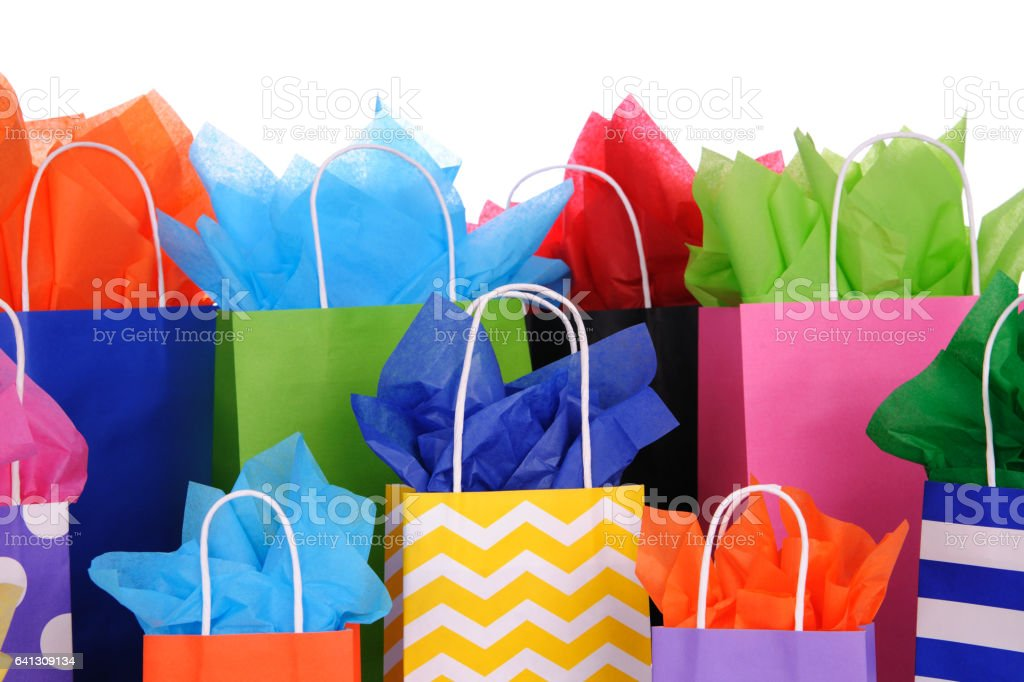 Brightley Colored Gift Bags. stock photo