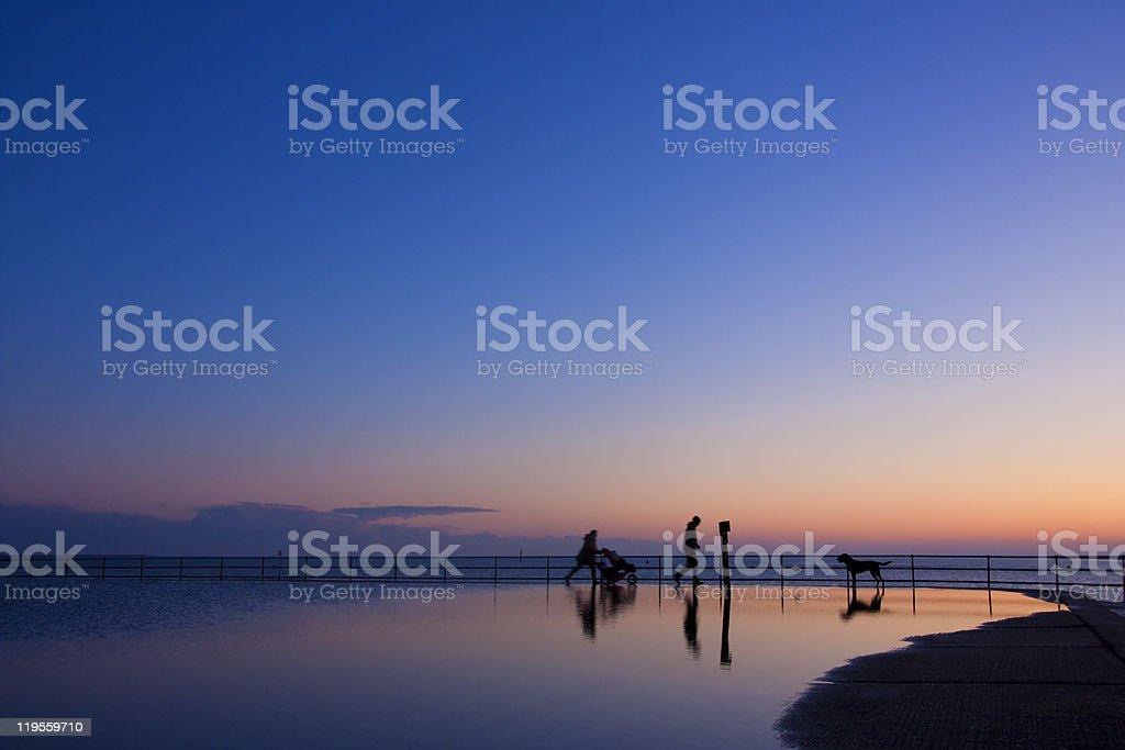Brightlingsea evening family walk stock photo