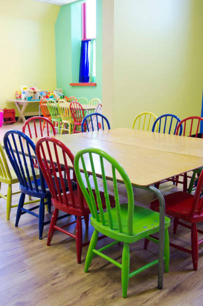 Brightly colored childcare room stock photo