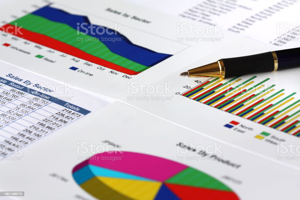 Brightly colored financial charts and graphs with black pen royalty-free stock photo