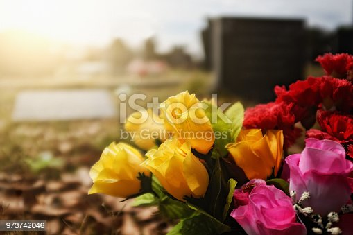 Brightly colored artificial flowers have been placed as a memorial on a grave. More defocused graves can be seen in th background.