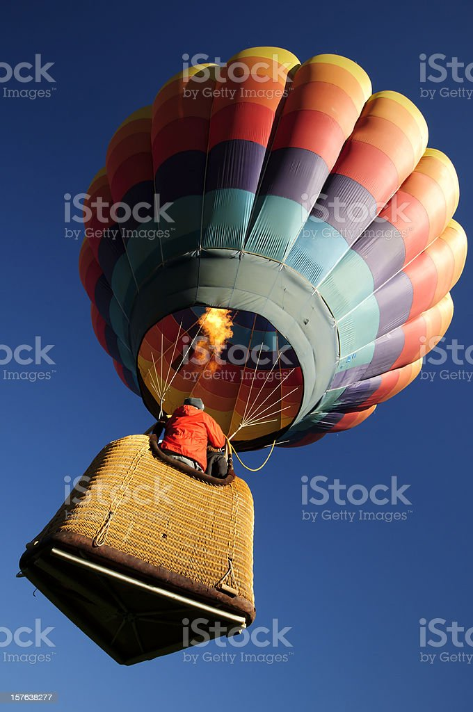 Brightly Colored Hot Air Balloon Launching Wide  Angle Close-up royalty-free stock photo