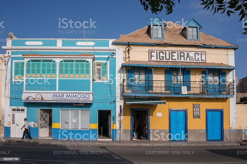 Brightly colored houses in Mindelo , Cape Verde stock photo