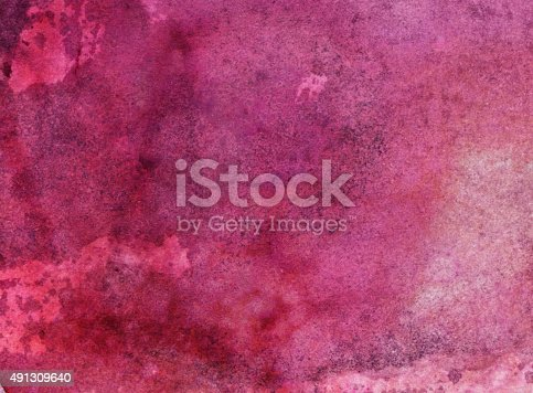 Hand painted watercolor and ink background. Shades of magenta pink and purple are the prominent colors in this painting. There is a texture prominent throughout the painting.