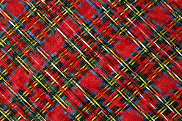 Brightly Colored Red Plaid Fabric Shot Diagonally Plaid fabricrelated: plaid stock pictures, royalty-free photos & images