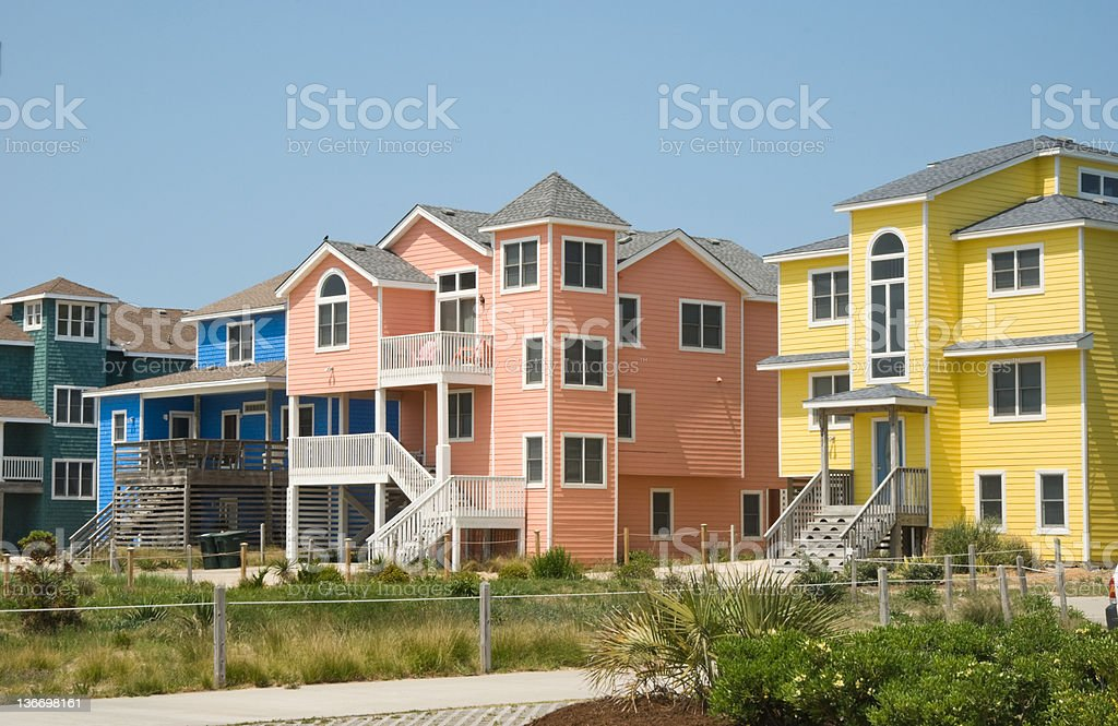 Brightly Colored Row Houses in Beach Resort Town royalty-free stock photo