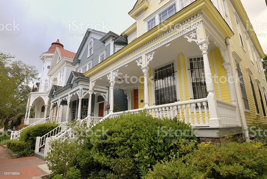 Brightly colored row houses stock photo