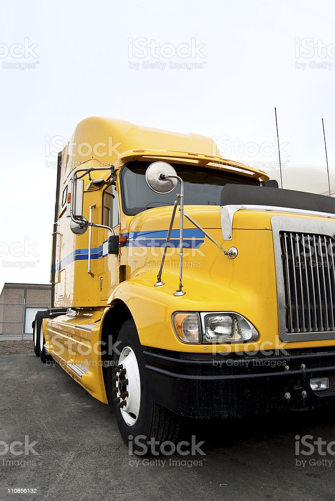 Brightly Colored Transport Truck Parked royalty-free stock photo