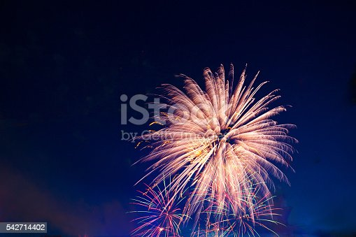 542714484 istock photo Brightly colorful fireworks and salute in the night 542714402