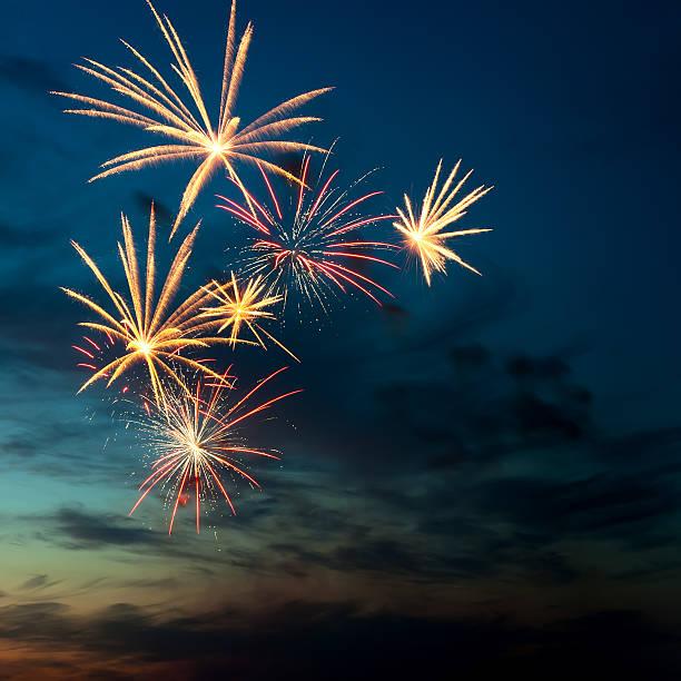 brightly colorful fireworks  in the night sky - happy 4th of july stok fotoğraflar ve resimler