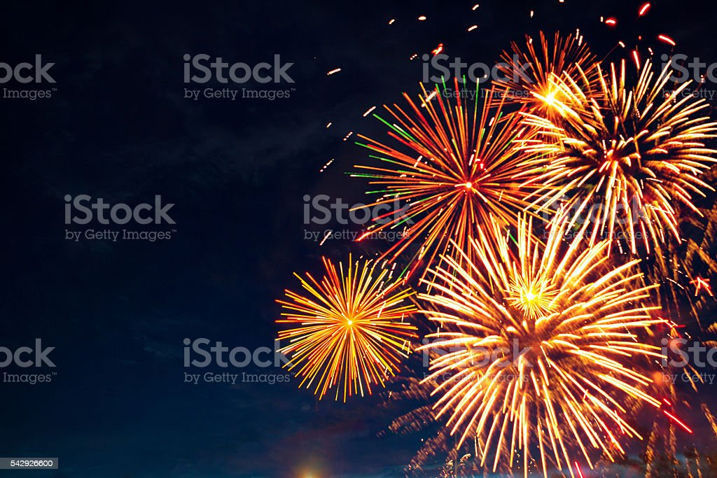 Brightly colorful fireworks stock photo