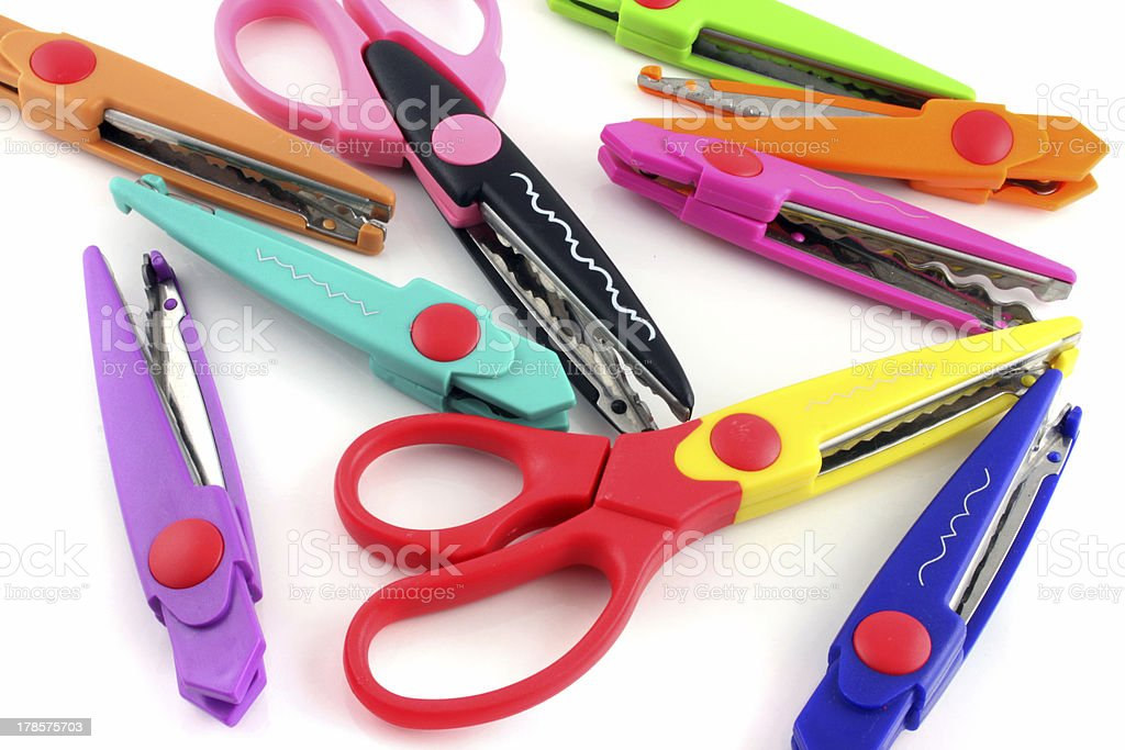 Brightly colors craft scissors on a white background royalty-free stock photo