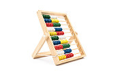 Childs brightly colored abacus for mathematics and learning