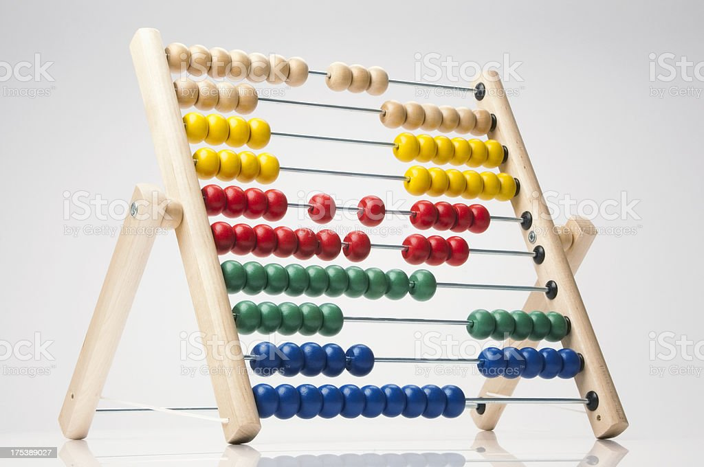 Brightly coloured child's abacus on white background stock photo