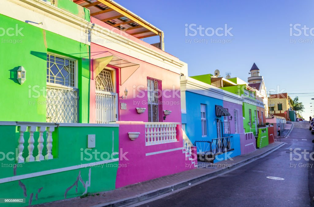Brightly coloured homes in the historic neighborhood of Bo-Kaap, Cape Town, South Africa stock photo