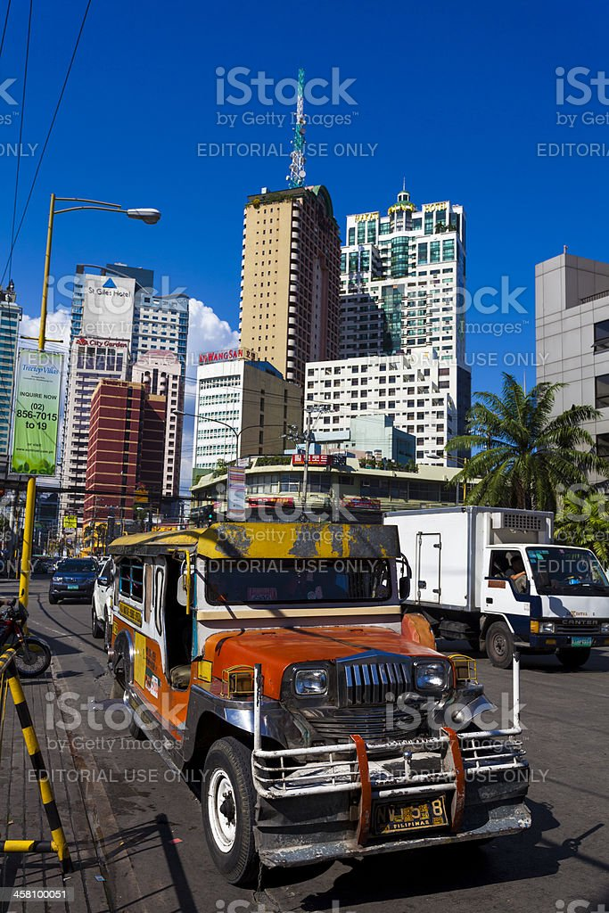 "Brightly coloured ""Jeepney"" Vehicle, Manila, Philippines royalty-free stock photo"