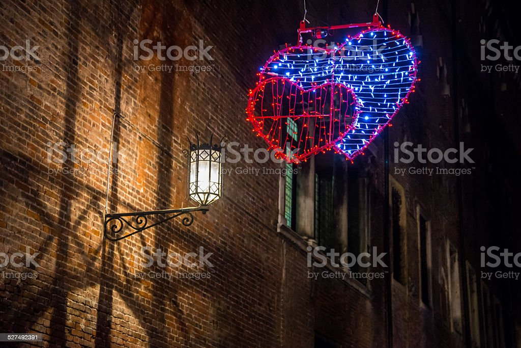 Brightly decorated to celebrate Valentine's Day stock photo