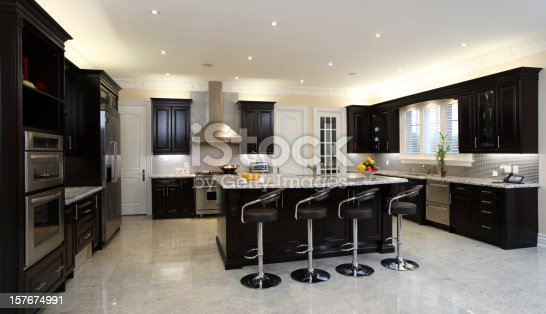 istock A brightly lit modern kitchen with bar stools 157674991