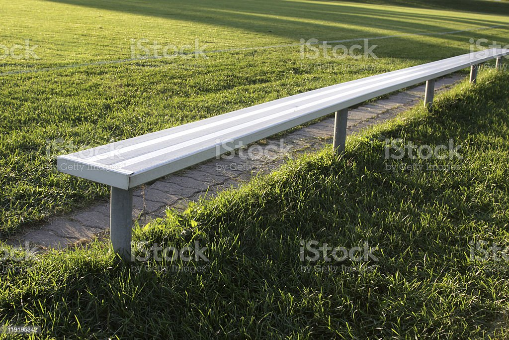 Brightly Lit Soccer Bench stock photo