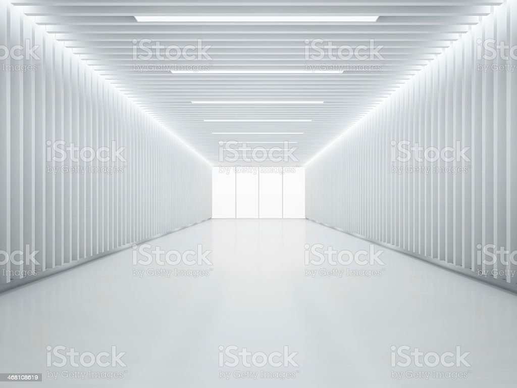 Brightly lit white room with no furnishings stock photo