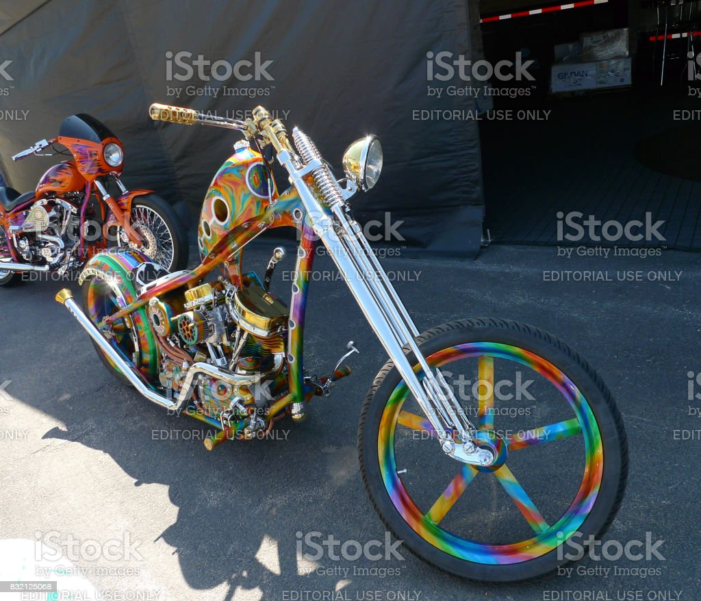 Sturgis, South Dakota - August 4, 2017: Brightly painted Motorcycle on display stock photo