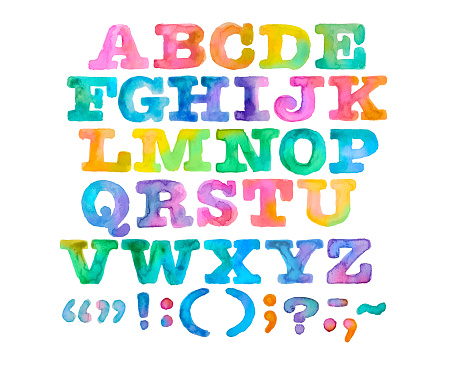 istock Brightly Painted Watercolor Alphabet and Punctuation 1136196835