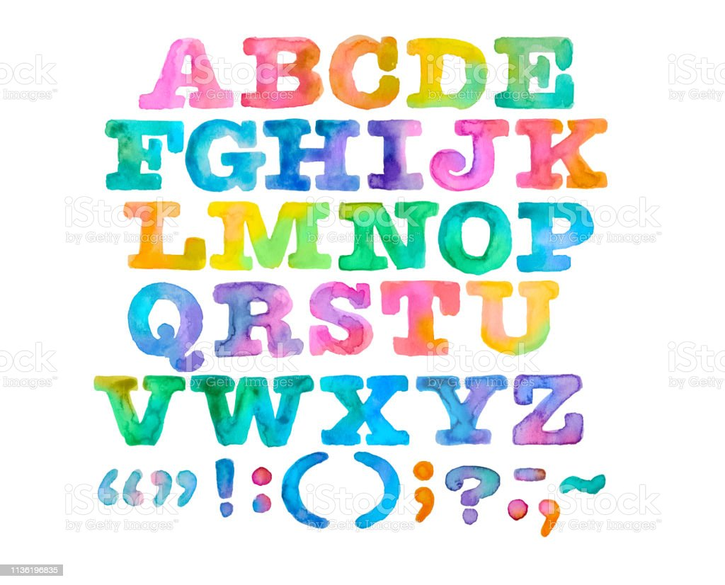 Brightly Painted Watercolor Alphabet and Punctuation stock photo