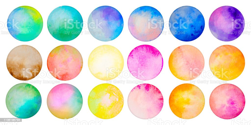 Brightly Painted Watercolor Circles isolated on white stock photo