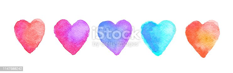 Brightly Painted Watercolor Hearts, isolated on white