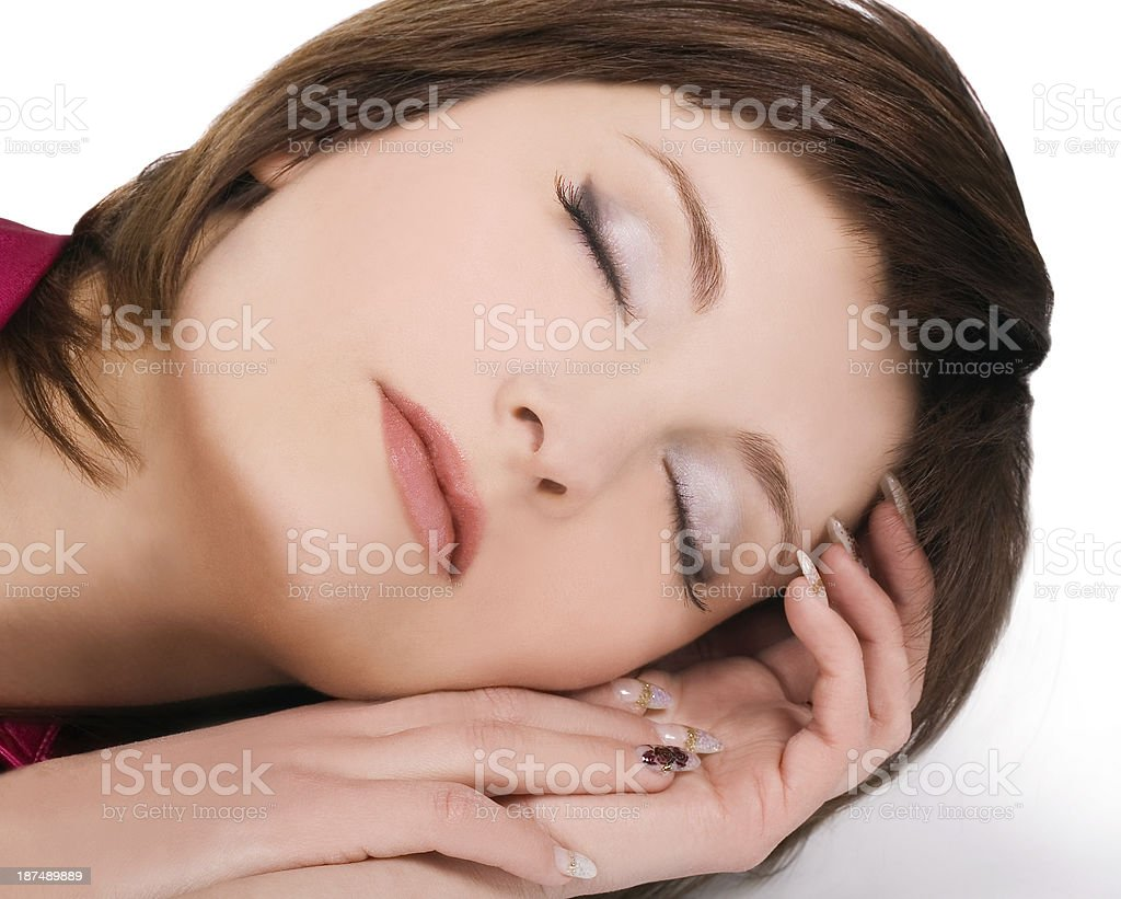 Brightly picture of  lovely young sleeping woman stock photo